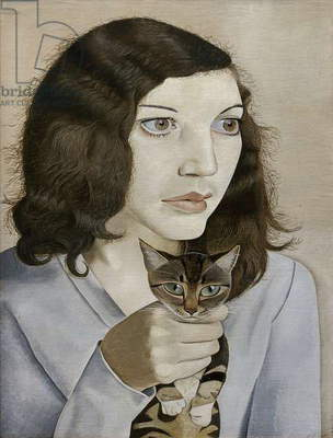 Girl with a Kitten, 1947 (oil on canvas)