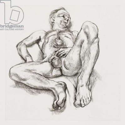 Naked Man on Bed, 1990 (etching)
