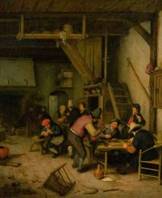 Tavern with Tric-Trac of Backgammon Players, 1669/74 (oil on panel)