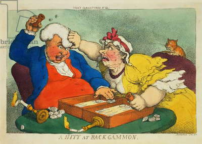 A Hitt at Backgammon (coloured etching)