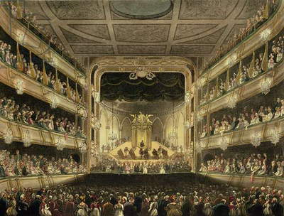 Covent Garden Theatre, 1808, from 'Ackermann's Microcosm of London' engraved by J. Bluck (fl.1791-1831) (aquatint)