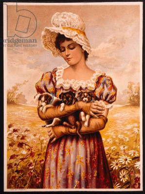 Young Woman in White Bonnet Holding Puppies, Lithograph, Circa 1891