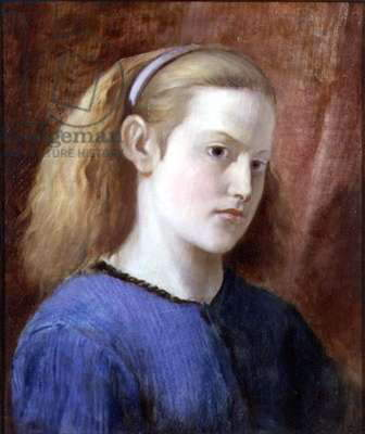 Portrait of a Girl in Blue (oil on canvas)