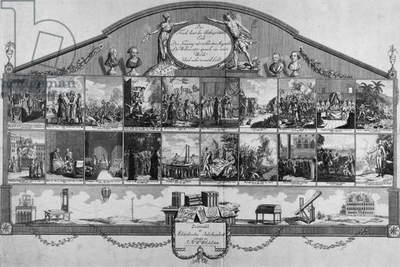 Timeline showing important figures and events of the 18th century, published by Johann Georg Klinger, Nuremberg, 1801 (engraving)