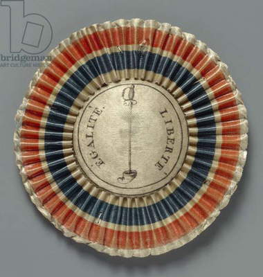 Cockade in the colours of the French republic, after 1789 (printed silk and card)