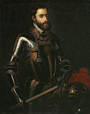 Portrait of Emperor Charles V, after a painting by Titian, c.1603 (oil on canvas)