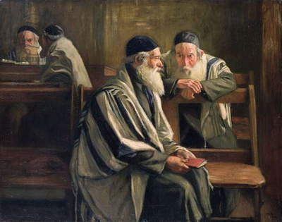 In the Spitalfields Synagogue, 1904 (oil on canvas)