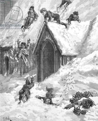 Children Playing in Snow Iceland, 1885 (engraving)