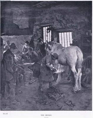 The smithy, from Royal Academy pictures published by Cassell & Company Ltd, 1895 (litho)