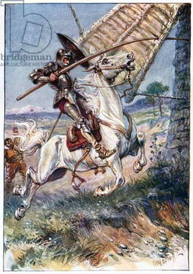 And running his lance into the sail, illustration from 'The Adventures of Don Quixote', published by G. Bell & Sons, Ltd., 1911 (colour litho)