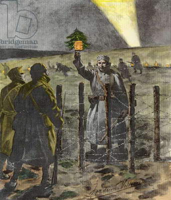 The Christmas Day Truce of 1914, published 1915 (litho) (later colouration)