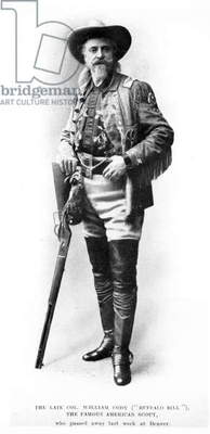 The Late Colonel William Cody (Buffalo Bill) The Famous American Scout (b/w photo)