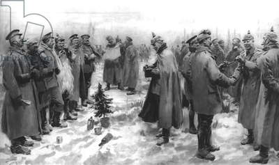 The Christmas Day Truce of 1914, published 9th January 1915 (litho)