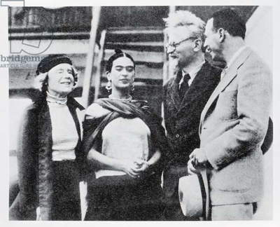 Trotsky Finds a Refuge in Mexico: The Bolshevik Leader with Mme Trotsky (left) and Senora Rivera, wife of Diego Rivera (1886-1957), from 'The Illustrated News', 30th January 1937 (b/w photo)