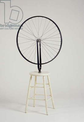 Bicycle Wheel, 1913/64 (bicycle wheel & fork mounted on stool)