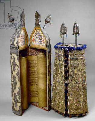 Torah scroll case and mantle (mixed media)