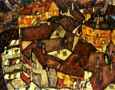 Krumau Town Cresent, 1915 (oil on canvas)