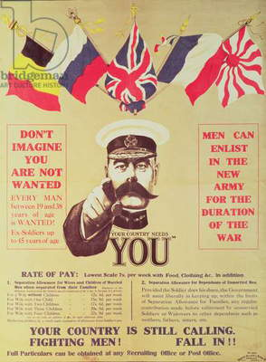 Your Country Needs You! World War I Recruiting Poster with portrait of Field Marshall Earl Kitchener (see also 2987) by Alfred Leete (lithograph)