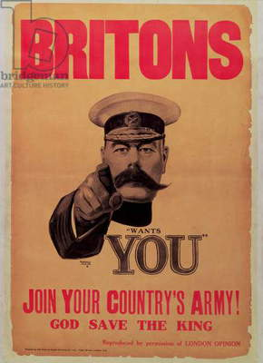 Britons: Join Your Country's Army! by Alfred Leete First World War recruitment poster with a portrait of Field Marshall Earl Kitchener (1850-1916) (Lithograph and letterpress on paper) (see also 65836)