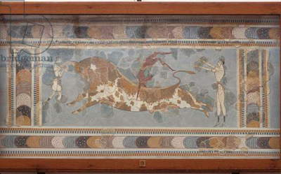 Bull fighting fresco, from Knossos, painted around 1550-1450 BC (fresco)