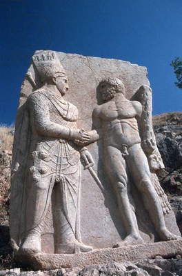 A relief of King Mithridates, king of the Commagene, with Herakles (photo)