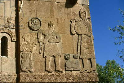 A decorative carving of David and Goliath on the exterior of the Armenian Cathedral Church of the Holy Cross on the Island of Aktamar (photo)
