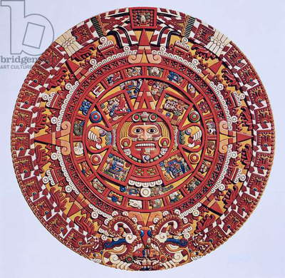 Imaginary recreation of an Aztec Sun Stone calendar (see also 115255), Late Post Classic Period (lithograph)