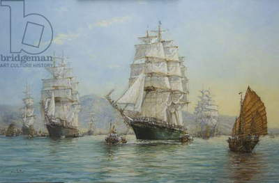 Thermopylae and Cutty Sark leaving Foochow in 1872, 2008 (oil on canvas)