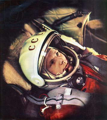 Yuri Gagarin in the cabin of 'Vostok', the spacecraft in which he made the first human journey to outer space on 12 April, 1961 (photo)
