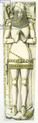Effigy of Sir John Stanley, St. Peter's Church, Elford, Staffordshire, England, 1848-9 (hand coloured engraving)
