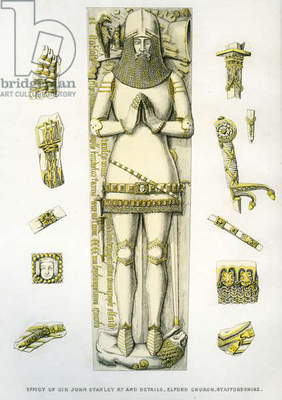 Effigy and details of armour of the tomb of Sir John Stanley, St. Peter's Church, Elford, Staffordshire, England, 1848-9 (hand coloured engraving)
