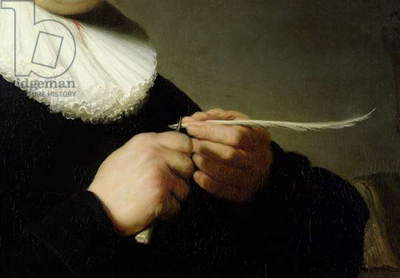 Man Sharpening a Quill, 1632 (oil on canvas) (detail)
