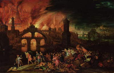 The Destruction of Troy, 1606 (oil on copper)