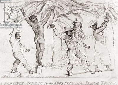 Slave trading in the 19th century.  Slave traders punishing slaves.  From a contemporary print.