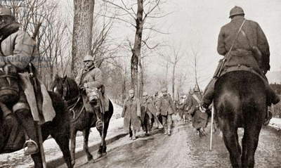 Column of German Prisoners of War on Foot with Mounted Guards after the Battle of Verdun, from L'Illustration magazine 1916