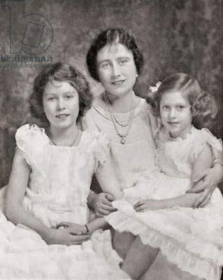 Queen Elizabeth with her daughters Princess Elizabeth, future Queen Elizabeth II, left and Princess Margaret, right, in 1937