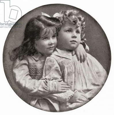 Elizabeth Angela Marguerite Bowes-Lyon, in 1904 with her younger brother Sir David Bowes-Lyon, from The Duchess of York, c.1928