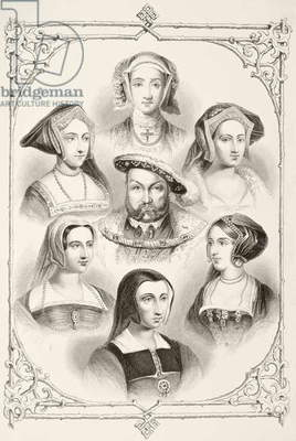 King Henry VIII of England and his six wives, from 'The National and Domestic History of England' by William Hickman Smith Aubrey (1858-1916) published London, c.1890 (litho)