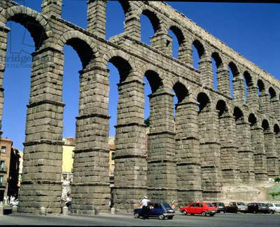 View of the Roman aqueduct, Segovia, Spain, 1st century AD (photo)