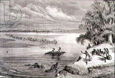 Crossing the Colorado River in the 1860s (engraving)