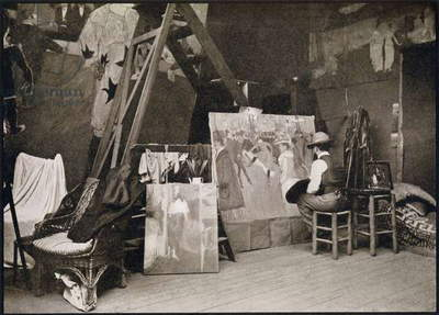 Toulouse-Lautrec in his studio in Rue Caulaincourt, from 'Toulouse-Lautrec' by Gerstle Mack, published 1938 (b/w photo)