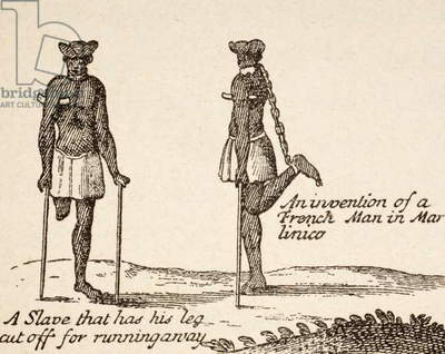 A slave who has had his leg cut off for running away, left, and an invention of a French man in Matinico or Martinique to prevent a slave from escaping, after a sketch in 'Relation d'un Voyage fait en 1695, 1696, & 1697' by Francois Froger, published Paris 1898, from 'Afrika, dets Opdagelse, Erobring og Kolonisation', published 1901 in Copenhagen (litho)