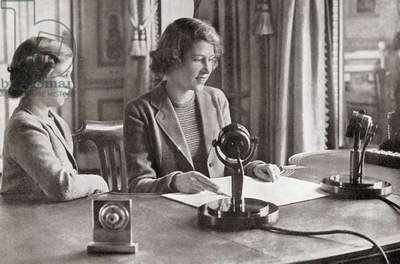 Princess Margaret, left, and Princess Elizabeth, future Queen Elizabeth II, right, broadcasting to the children of the empire, 13h October, 1940
