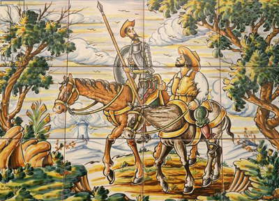 Tiles depicting Don Quixote and Sancho Panza (ceramic)