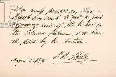 Handwriting and signature of Percy Bysshe Shelley, 1819 (pen & ink on paper)