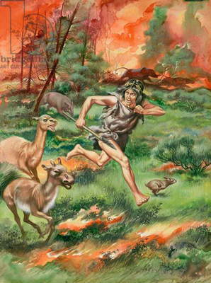 Stone Age man, fleeing fire along with animals (gouache on paper)