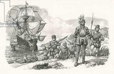 First Europeans arriving in California (gouache on paper)