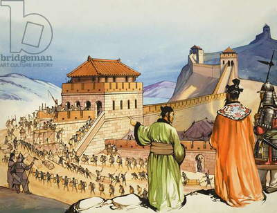 Building the Great Wall of China (gouache on paper)