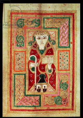 Ms 1370 f.115v St. Luke with crozier and book, from the MacDurnan Gospels, Armagh (vellum)