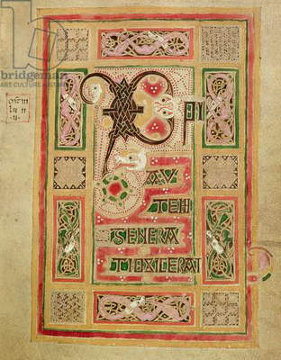 Ms 1370 f.5 Frontispiece of the Gospel of St. Matthew with elaborate border and opening words in capitals, from the MacDurnan Gospels, Armagh (vellum)